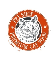 Cat logo design template kitten or pet vector
