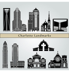 Charlotte landmarks and monuments vector