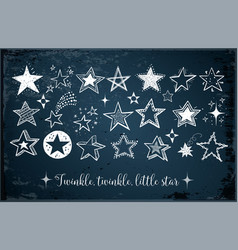 collection of doodle stars on dark blue background vector image vector image