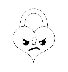 Dotted shape angry heart padlock kawaii personage vector