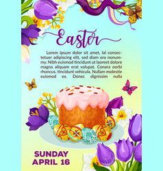 Easter paschal cake paska kulich poster vector