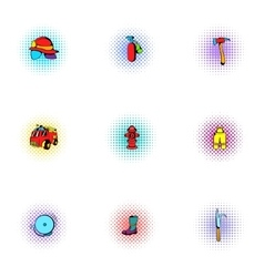 Fiery profession icons set pop-art style vector
