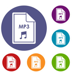 file mp3 icons set vector image