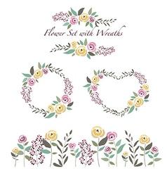 flowers and flower wreaths set in flat de vector image vector image