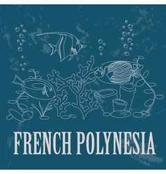French polynesia retro styled image vector