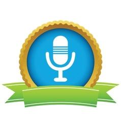 Gold microphone logo vector