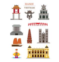 Hanoi vietnam landmarks architecture building vector