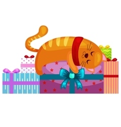 Happy cute cat with christmas gifts kitten vector