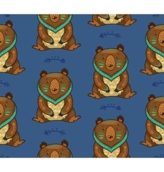 Indian seamless pattern of bear in vector
