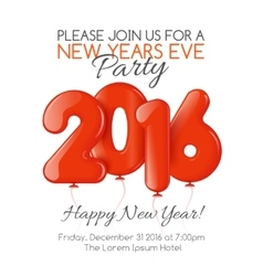 Invitation to new year party with red balloons vector