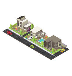 isometric suburban district concept vector image vector image