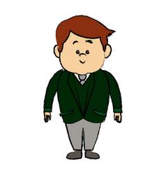 Man cartoon standing suit clothes character vector
