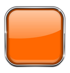 orange square button shiny 3d icon with metal vector image