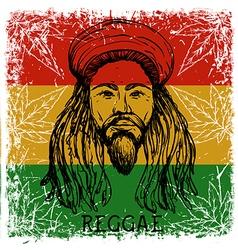 Portrait of rastaman and cannabis leaves vector