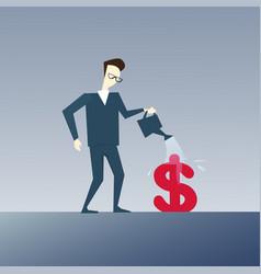Rich business man watering dollar sign money vector