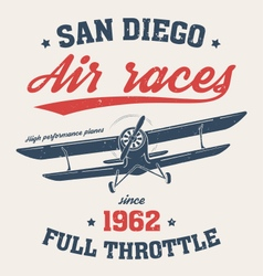 san diego t shirt with old airplane vector image vector image