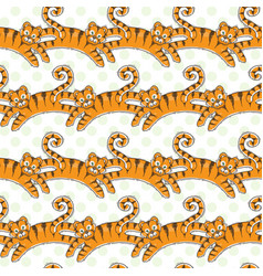 Seamless pattern with jumping tigers vector