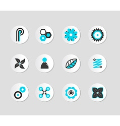 Set of grey and blue icons vector image vector image