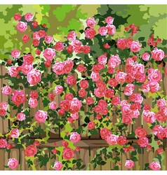 Shrub with pink flowers over a fence vector