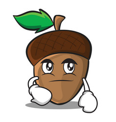 Smirking acorn cartoon character style vector