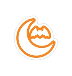 Sticker new moon and a bat on a white background vector