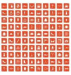 100 womens accessories icons set grunge orange vector