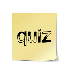 Quiz - hand lettering on sticky note vector