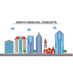 north carolina charlottecity skyline vector image