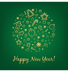 Green happy new year card vector