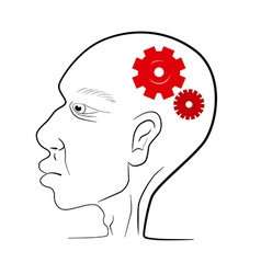 Man head with red cogs - gears vector