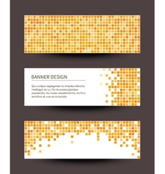 Set of pixel banners on dark background vector image