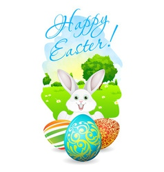 Easter Card with Landscape Rabbit and Eggs vector image