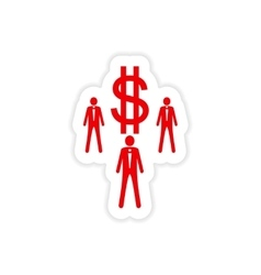 Stylish sticker on paper businessmen and dollar vector