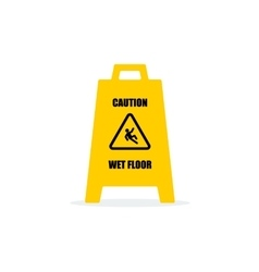 Yellow Wet Floor Sign Flat icon vector image