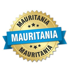 Mauritania round golden badge with blue ribbon vector