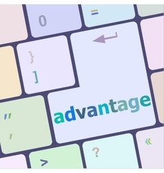 Close up view on conceptual keyboard - advantage vector