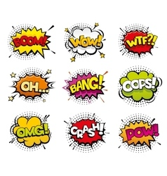Comic sound effects in pop art style vector