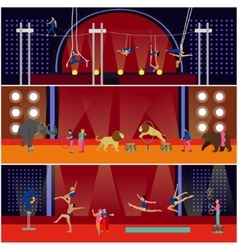 Set of circus interior concept banners vector