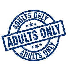 Adults only blue round grunge stamp vector
