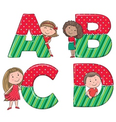 Alphabet kids ABCD vector image