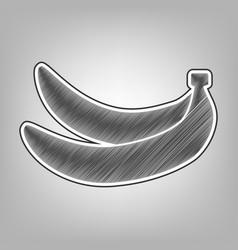 Banana simple sign pencil sketch vector