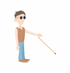 Blind man with cane icon cartoon style vector
