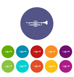 brass trumpet set icons vector image