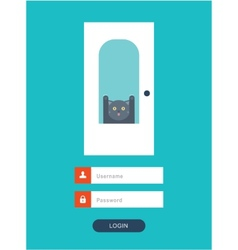 cat behid the door vector image vector image