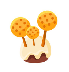 Chocolate glazed stump with mushrooms made of vector