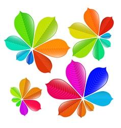 Colorful chestnut leaves set vector