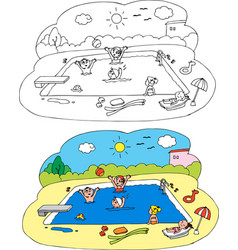 Coloring children at the swimming pool vector