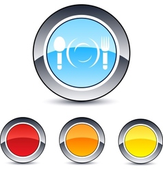 Dinner round button vector image vector image