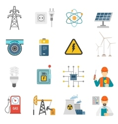 Energy power flat icons set vector