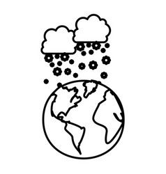 Figure earth planet with clouds snow icon vector